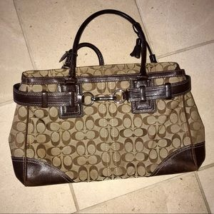 Coach Leather Purse Brown Canvas